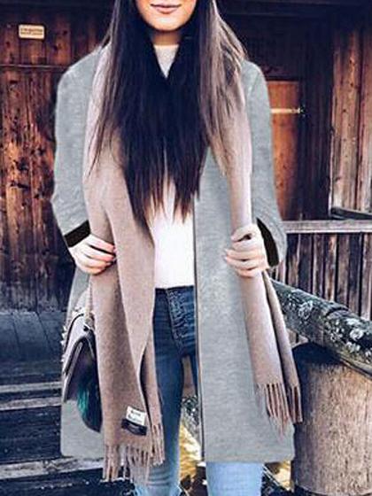 Gray Zip Front Longline Coat