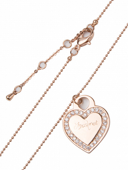 Rose Gold Crystal Embellished Heart Pendant Chain Necklace