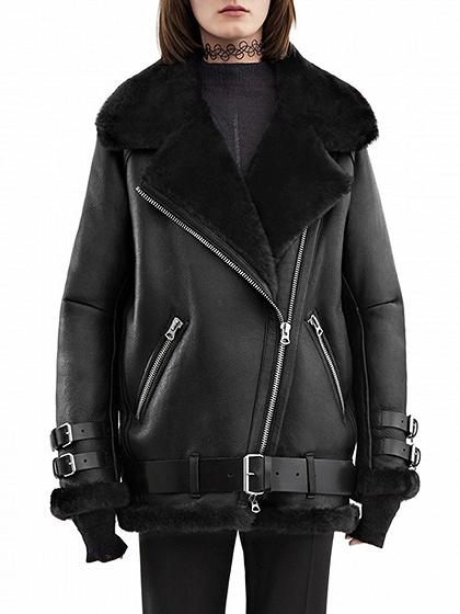 Black Faux Shearling  Lining Biker Jacket