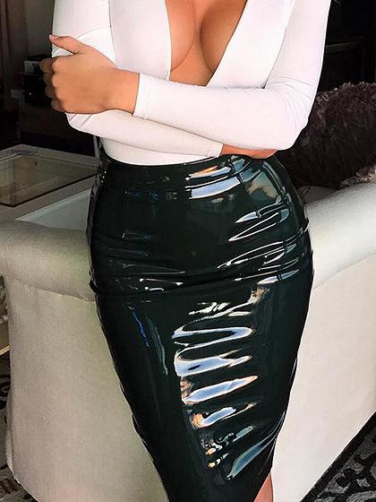 Black High Waist Zip Back Leather Look Skirt