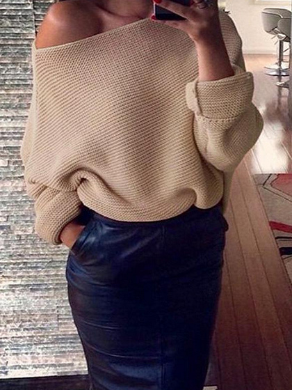 Khaki Off Shoulder Open Knit Sweater