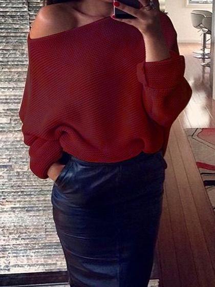 Burgundy Off Shoulder Open Knit Sweater