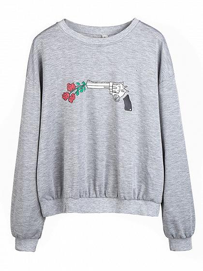 Gray Print Rose Detail Long Sleeve Sweatshirt