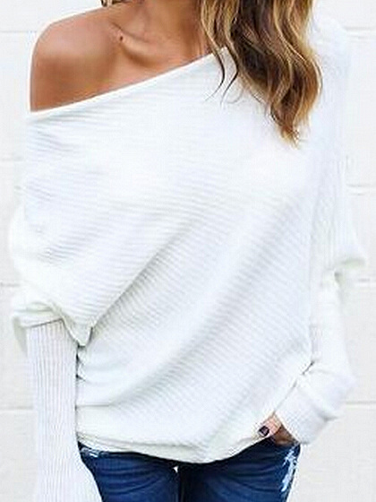 White Cold Shoulder Batwing Sleeve Ribbed T-shirt