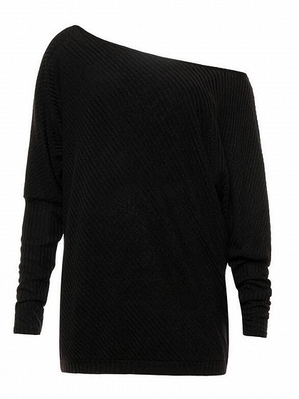Black Cold Shoulder Batwing Sleeve Ribbed T-shirt
