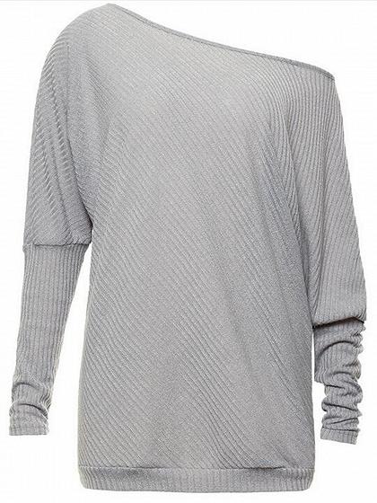 Gray Cold Shoulder Batwing Sleeve Ribbed T-shirt
