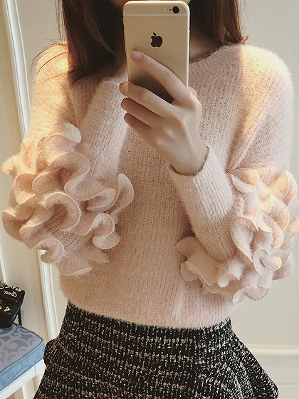 Pink Ruffle Trim Long Sleeve Mohair Knit Sweater