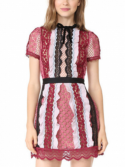 Red Cut Out Short Sleeve Lace Mini Dress