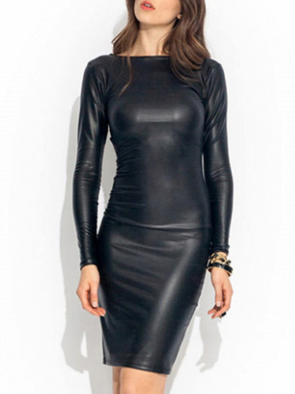Black Long Sleeve Leather Look Dress