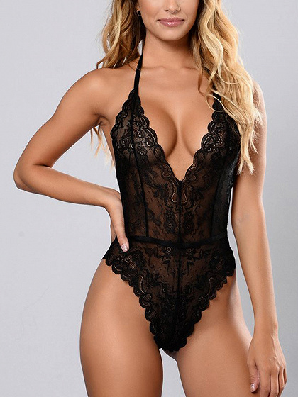 Black Halter Plunge Open Back Lace Bodysuit