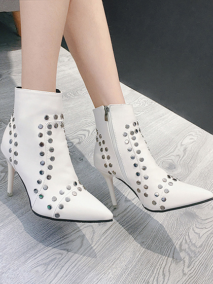 White Studs Detail Pointed Toe Heeled Ankle Boots