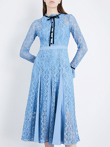 Blue Bow Tie Front Flare Sleeve Lace Midi Dress