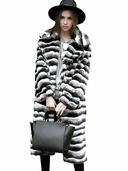 Monochrome Stripe Longline Faux Fur Coat