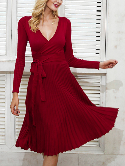 Burgundy Plunge Tie Waist Long Sleeve Knitted Pleated Dress