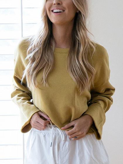 Yellow Long Sleeve Cropped Sweatshirt