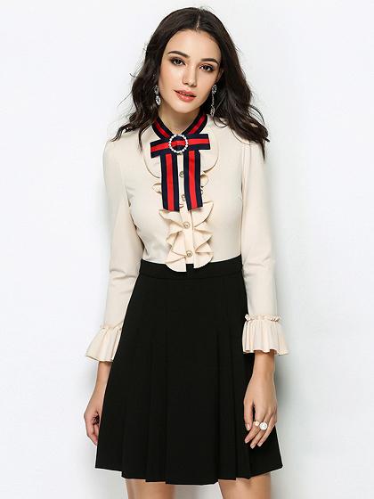 Beige Bow Tie Front Ruffle Trim Long Sleeve Mini Dress