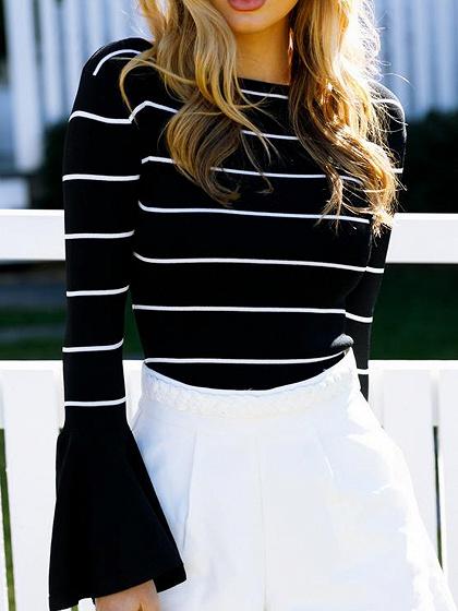 Black Stripe Flare Sleeve T-shirt
