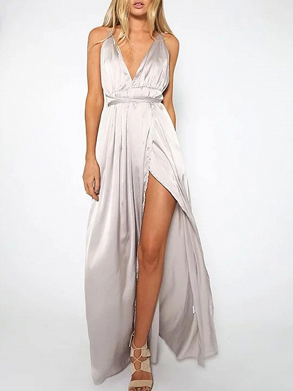 Silver Spaghetti Strap Plunge Thigh Split Open Back Maxi Dress