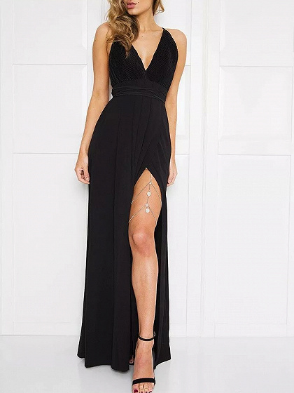 Black Spaghetti Strap Plunge Thigh Split Open Back Maxi Dress