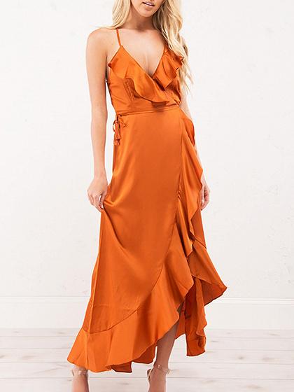 Orange Spaghetti Strap Plunge Ruffle Trim Open Back Hi-Lo Dress