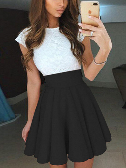 Black Contrast Lace Panel Skater Mini Dress