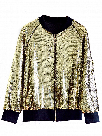 Gold Sequin Detail Bomber Jacket