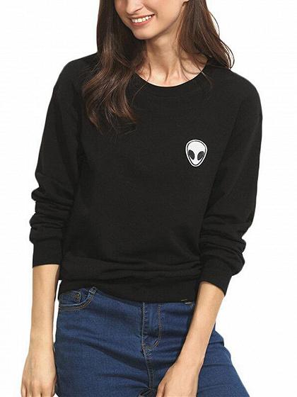 Black Alien Print Long Sleeve Sweatshirt