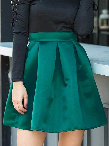 Green Satin Look High Waist Mini Skirt