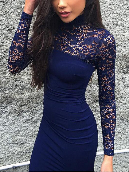 Blue High Neck Lace Panel Long Sleeve Bodycon Midi Dress