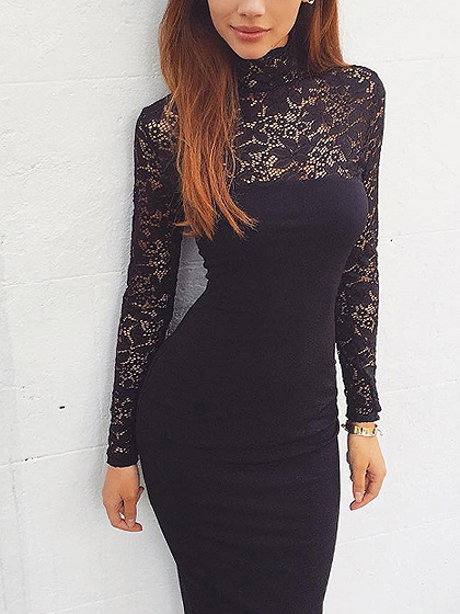 Black High Neck Lace Panel Long Sleeve Bodycon Midi Dress