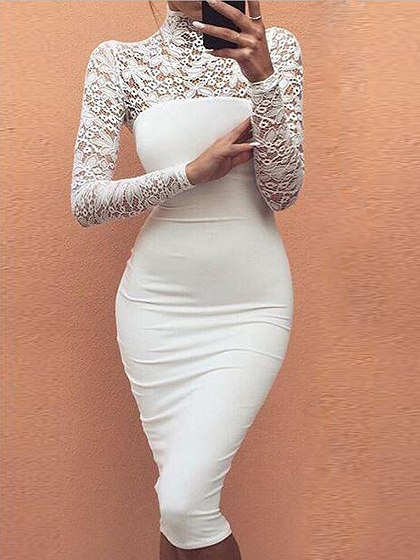 White High Neck Lace Panel Long Sleeve Bodycon Midi Dress