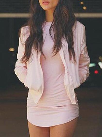 Pink Long Sleeve Mini Dress