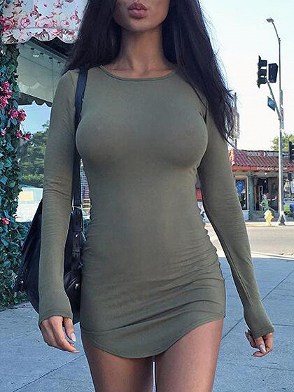 Army Green Long Sleeve Mini Dress