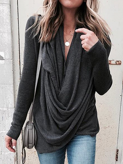 Black Cowl Neck Long Sleeve T-shirt