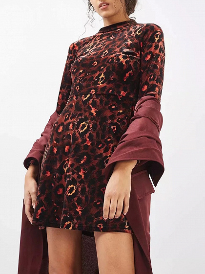 Burgundy Velvet Leopard Print Long Sleeve Mini Dress