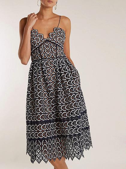 Black Spaghetti Strap Lace Midi Dress