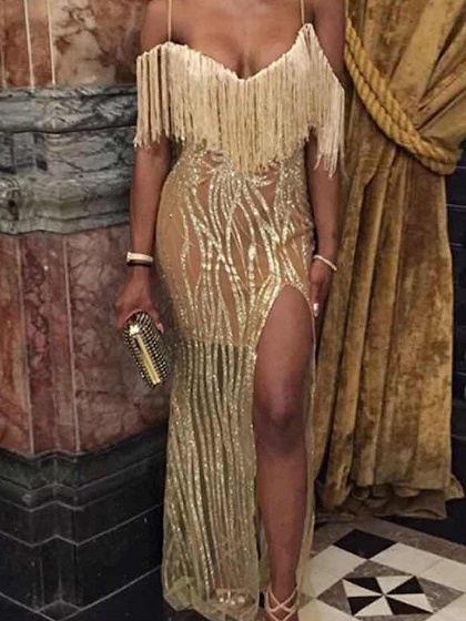 Gold Tassel Trim Sequin Detail Thigh Split Cami Maxi Dress