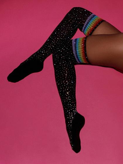 Black Stripe Over The Knee Socks