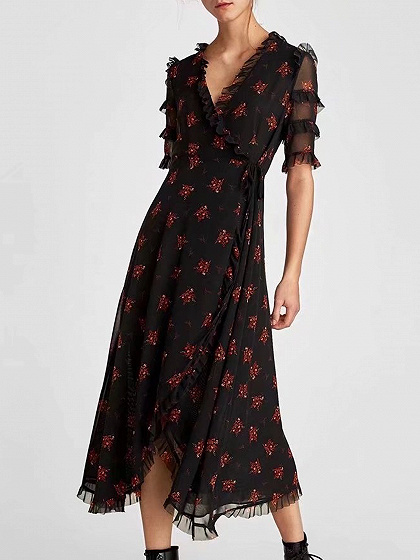 Black Print Detail Midi Dress