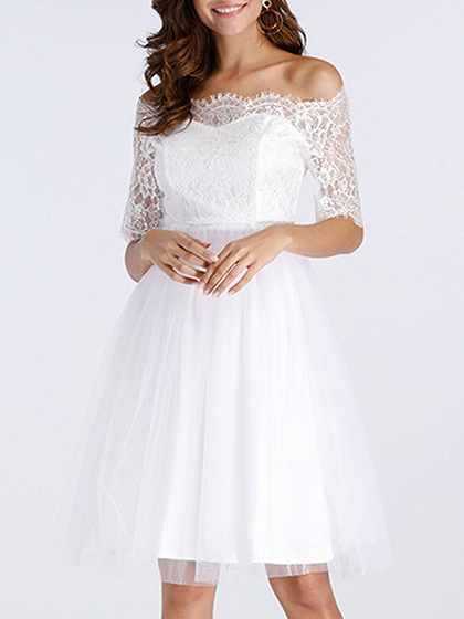 White Off Shoulder Mesh Panel Lace Dress
