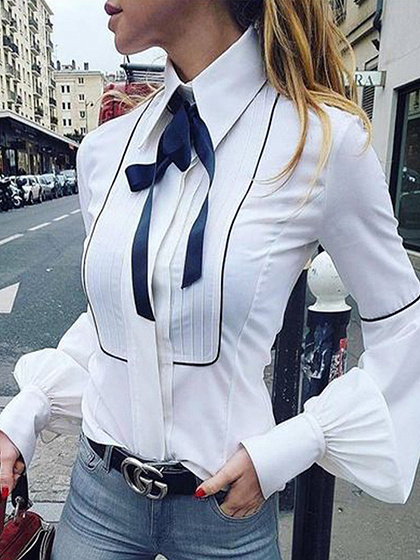 White Bow Tie Front Puff Sleeve Shirt