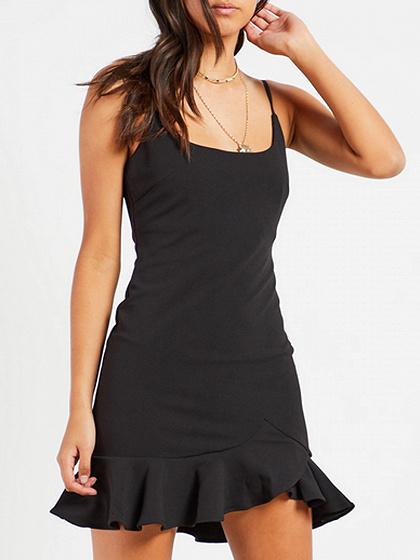 Black Spaghetti Strap Flounce Hem Mini Dress
