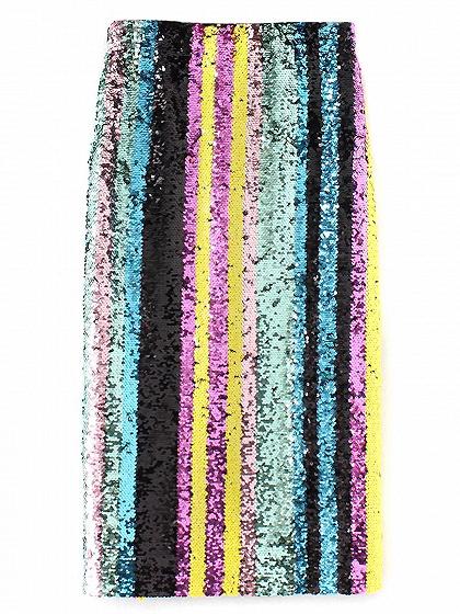 Polychrome Sequin Detail Side Split Skirt