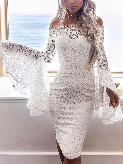White Off Shoulder Flare Sleeve Lace Bodycon Dress