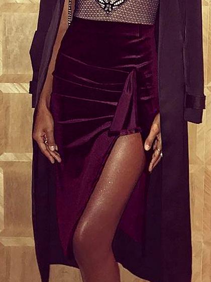 Burgundy Velvet High Waist Knot Detail Skirt