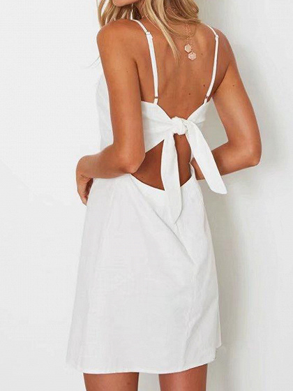 White Bow Tie Back Cami A-Line Mini Dress