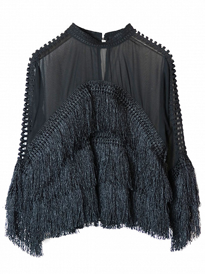 Black Tassel Trim Cut Out Detail Long Sleeve Blouse