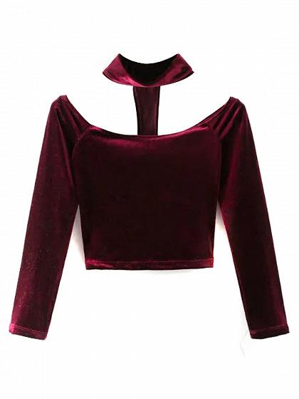 Burgundy Velvet Choker Neck Off Shoulder Long Sleeve T-shirt