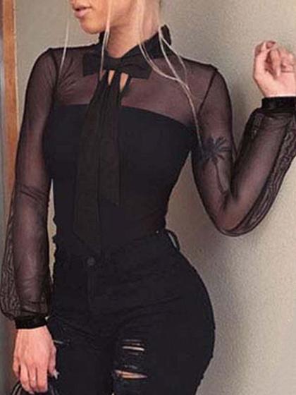 Black Bow Tie Front Sheer Mesh Panel Long Sleeve Bodysuit