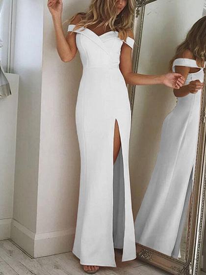 White Off Shoulder Thigh Split Maxi Dress